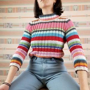 Vtg 90s Rainbow Striped Fuzzy Mock Neck Sweater
